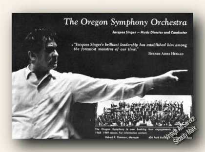 Jacques Singer Photo Oregon Symphony Orchestra (1967)