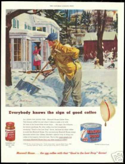 Maxwell House Coffee Man Shoveling Snow Art (1951)