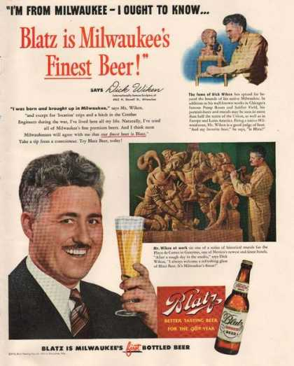 Dick Wiken for Blatz Beer (1949)