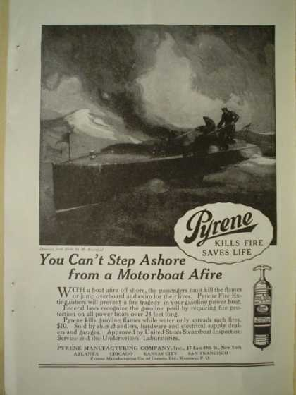 Pyrene Mfg fire extinguishers Motorboat fire (1920)