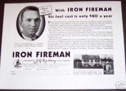 Original Iron Fireman Coal Furnace Heater Ad Ohio (1934)