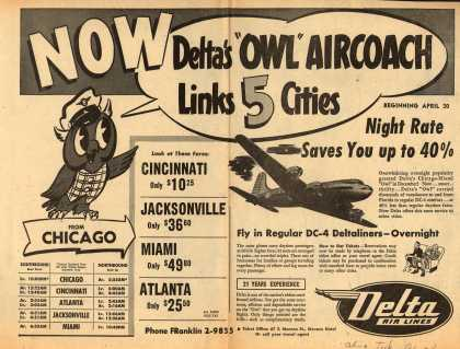 Delta Airline&#8217;s Delta Air Lines &#8211; Now, Delta&#8217;s &quot;Owl&quot; Aircoach Links 5 Cities (1950)