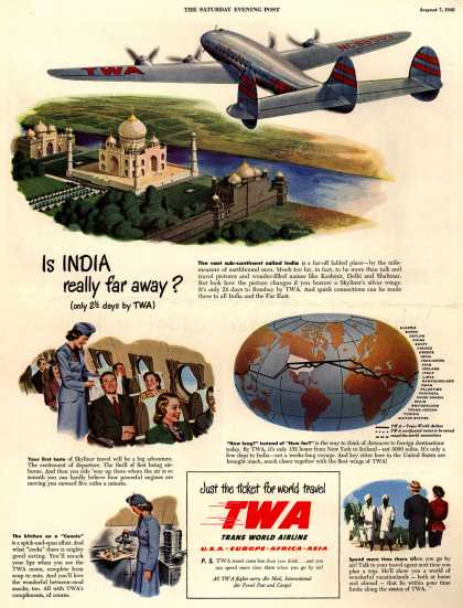Trans World Airline's world travel – Is INDIA really far away? (only 2 1/2 days by TWA) (1948)