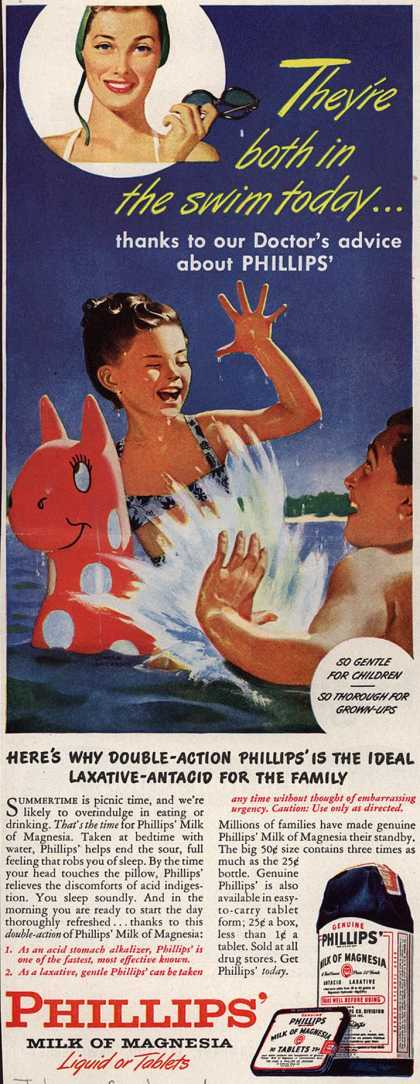 Chas. H. Phillips Chemical Co.'s Milk of Magnesia – They're both in the swim today... (1946)
