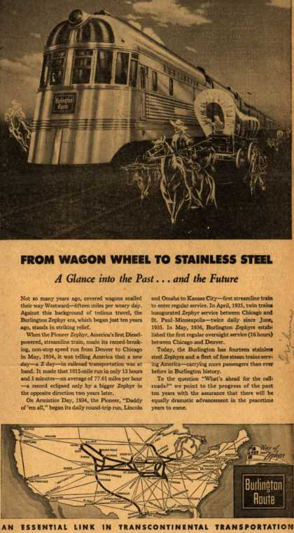 Burlington Route's Zephyrs and steam trains – FROM WAGON WHEEL TO STAINLESS STEEL A Glance into the Past..and the Future (1944)