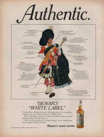 Dewars White Label Whiskey (1969)