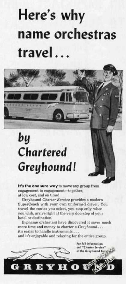 Chartered Greyhound Bus Name Orchestras Travel (1954)