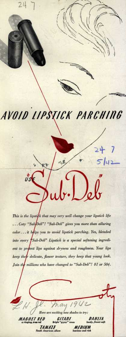 Coty's Sub-Deb Lipstick – Avoid Lipstick Parching (1942)