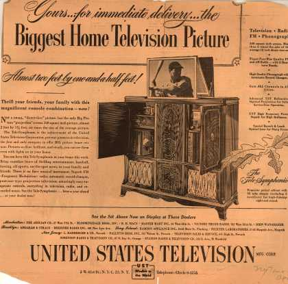 "United States Television Manufacturing Corporation's Big Picture ""projection"" screen television – Yours... for immediate delivery... the Biggest Home Television Picture"