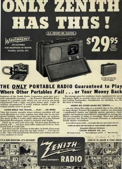 Zenith Radio Corporation's Portable Radio – Only Zenith Has This (1940)