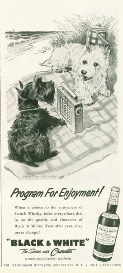 Black & White Scotch Ad Program for Enjoyment (1958)