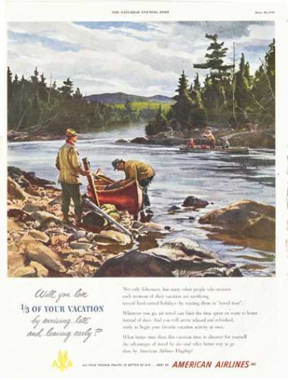 American Airlines Canoe Fly Fishing River Art (1949)