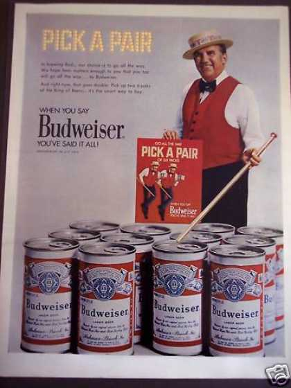 Pick a Pair of Six Packs Budweiser Beer (1971)