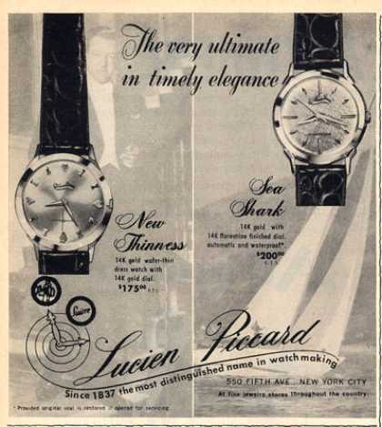 Lucien Piccard Watch Ad New Thinness Sea Shark (1960)