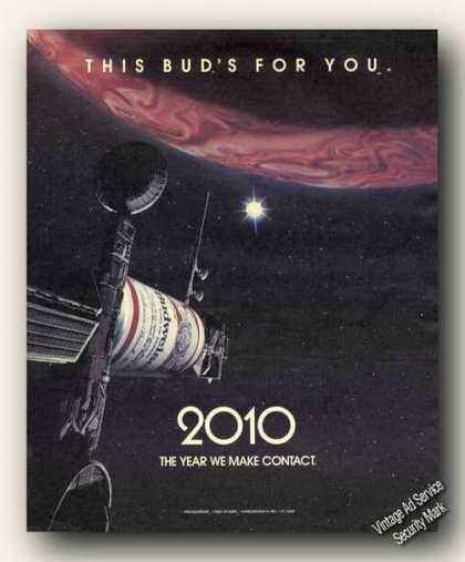 Budweiser 2010 We Make Contact Beer Print Promo (1984)