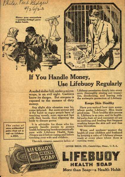Lever Brothers Company's Lifebuoy Health Soap – If You Handle Money, Use Lifebuoy Regularly (1923)