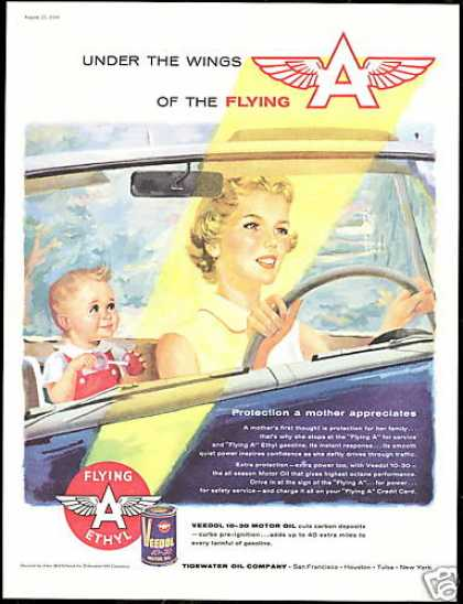 Mother Baby Convertible Car Tidewater Oil (1956)