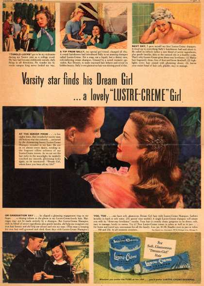 "Kay Daumit's Lustre-Creme Shampoo – Varsity star finds his Dream Girl... a lovely ""Lustre-Creme"" Girl (1948)"