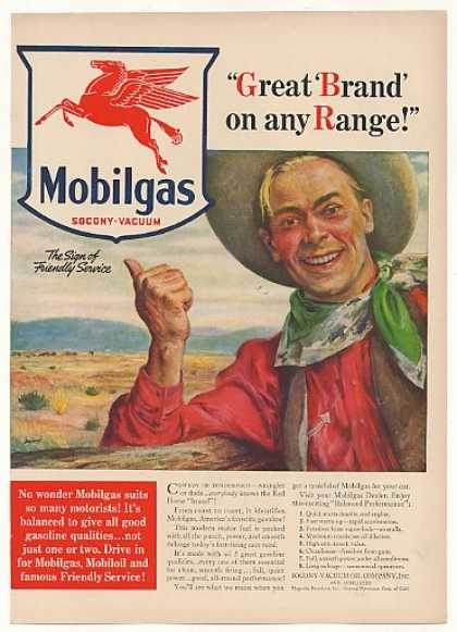 Mobilgas Great Brand on Any Range Cowboy art (1940)
