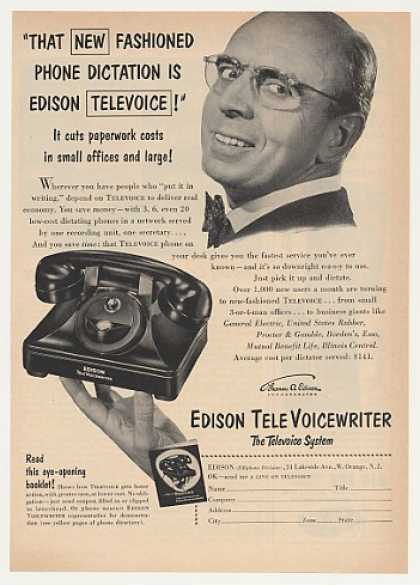 '53 Edison TeleVoice TeleVoiceWriter Dictation Phone (1953)