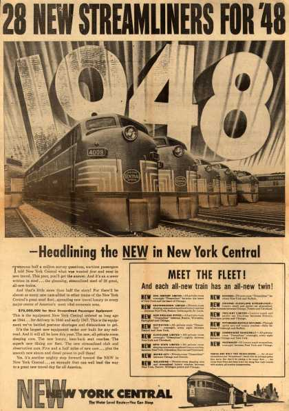 New York Central System's New Streamliners – 28 New Streamliners For '48 (1948)