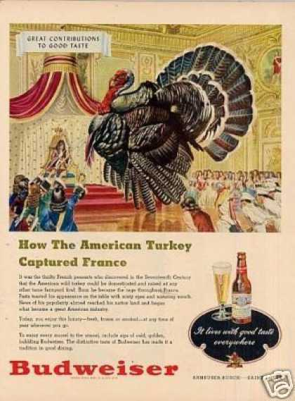 "Budweiser Beer Ad ""How the American Turkey... (1948)"