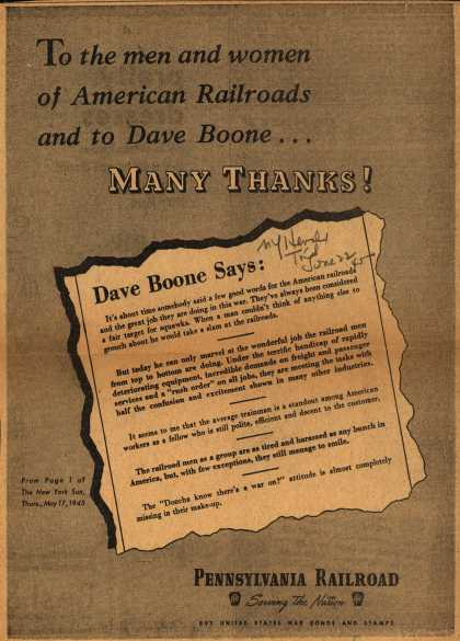 Pennsylvania Railroad – To the men and women of American Railroads and to Dave Boone... Many Thanks (1945)