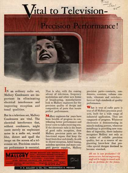 Mallory's Television – Vital to Television – Precision Performance (1945)