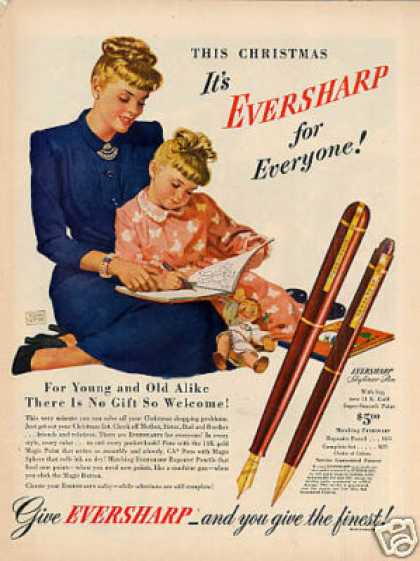Eversharp Fountain Pen Ad Tomm Webb Art (1947)
