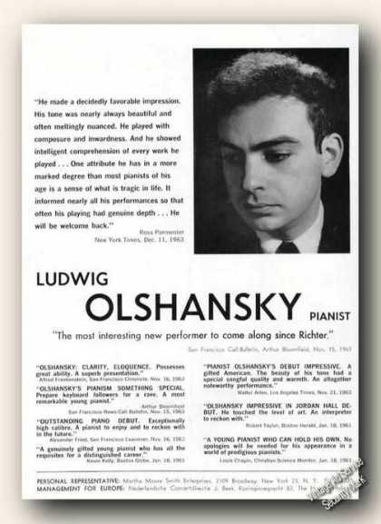 Ludwig Olshansky Photo Piano Ad Music (1964)