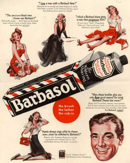 Barbasol – Barbasol. No brush. No lather. No rub-in. (1949)