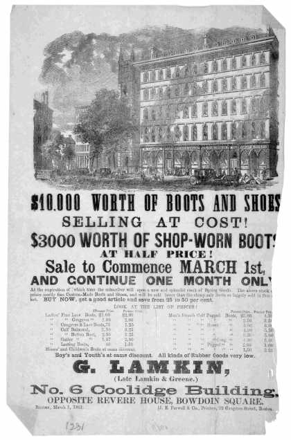 $10,000 worth of boots and shoes selling at cost. $3000 worth of shop-work boots at half-price. Sale to commence March 1st, and continue one month onl (1861)
