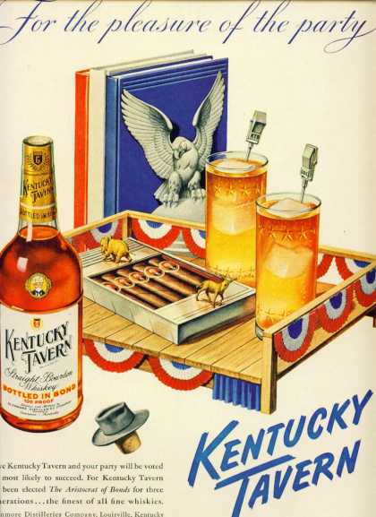 Kentucky Tavern Bourbon Whiskey Election Motiff (1948)