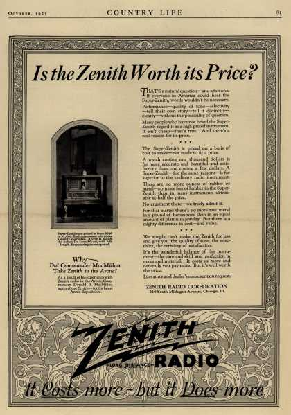 Zenith Radio Corporation's Radio – Is the Zenith Worth its Price? (1925)
