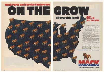 Mack Truck Service Centers USA Map Bulldog (1974)