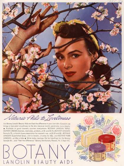 Botany Distributor's Botany Lanolin Beauty Aids – Nature's Aids to Loveliness (1940)