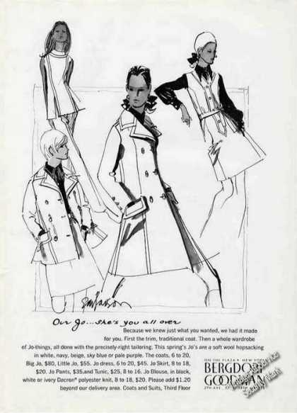 Bergdorf Goodman Collectible Ad Nice Fashion Art (1970)