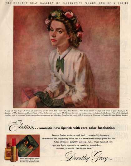 "Dorothy Gray's Elation lipstick, perfume, change purse – ""Elation""... romantic new lipstick with rare color fascination (1948)"