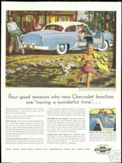 Chevrolet Delray Coupe Car Family Vacation Art (1954)