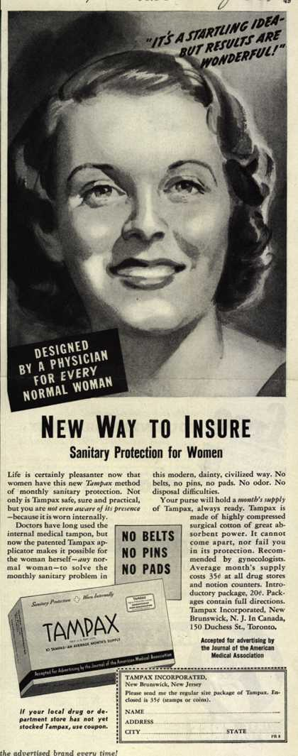 Tampax's Tampons – New Way to Insure (1938)