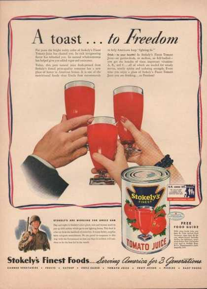 A Toast To Freedom Stokelys Tomato Juice A (1942)