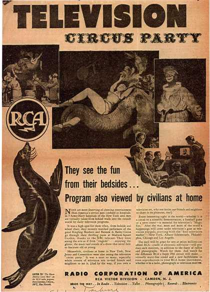 Radio Corporation of America's corporate ad – Hospitalized Service Men Cheered by Television Circus Party (1944)