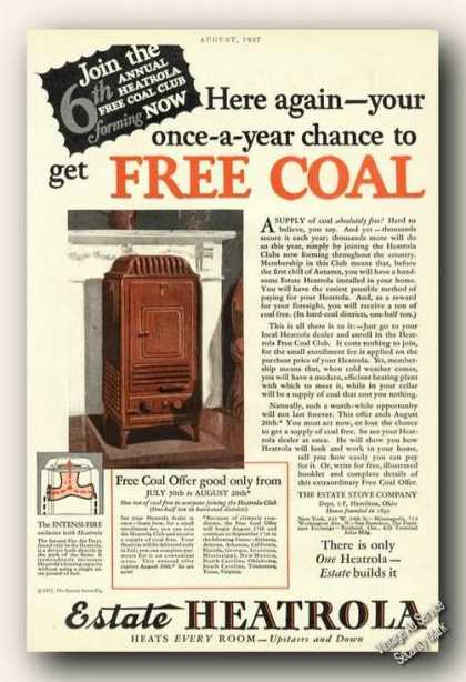 Estate Heatrola Coal Heater Hamilton Oh (1927)