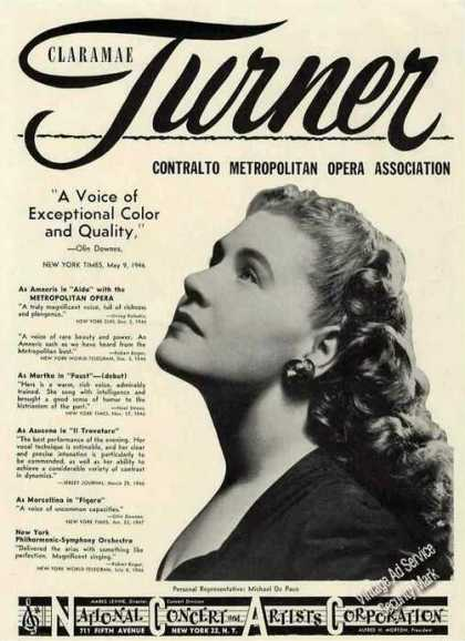 Claramae Turner Photo Contralto Opera Booking (1947)