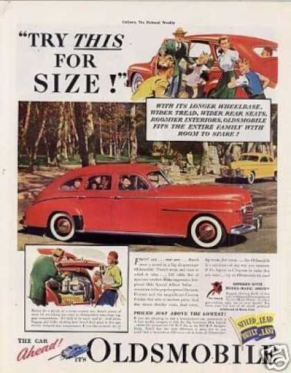"Oldsmobile Car Ad ""Try This for Size... (1941)"