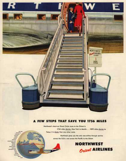 Northwest Orient Airline's Great Circle – A Few Steps That Save You 1756 Miles (1954)