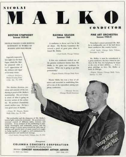 Nicolai Malko Photo Conductor Collectible Trade (1941)
