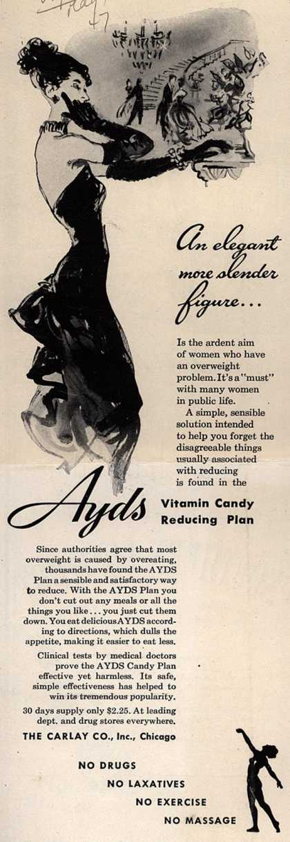 Carlay Company, Incorporated's Ayds – An elegant more slender figure... (1947)