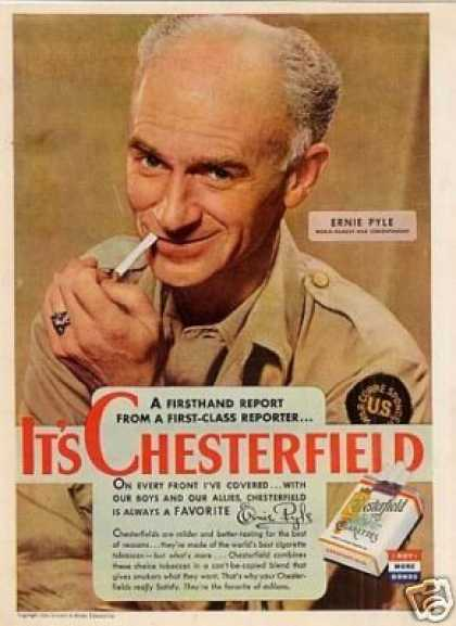 Chesterfield Cigarettes Ad Ernie Pyle (1944)