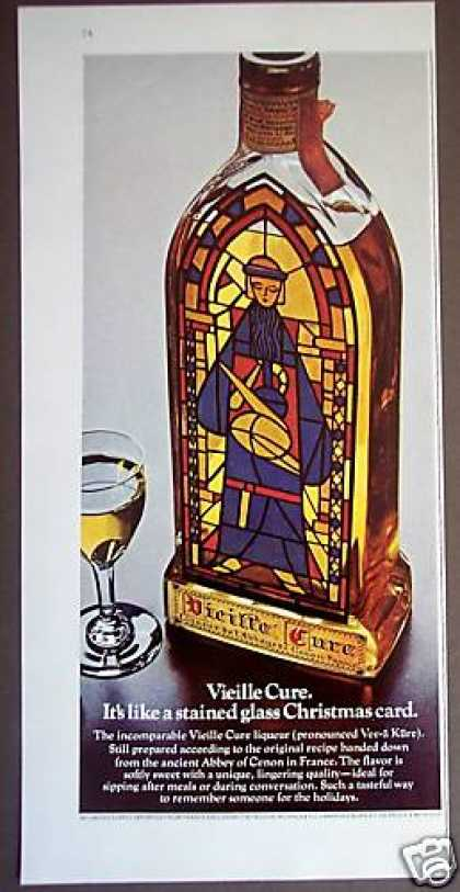 Vieille Cure Liqueur Stained Glass Bottle (1975)